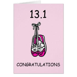 Half marathon lady, congratulations. greeting card