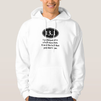 Half Marathon. Men's white hoodie. Hoodie