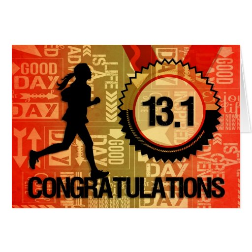 Half Marathon Run Congratulations Sports Theme Greeting Cards
