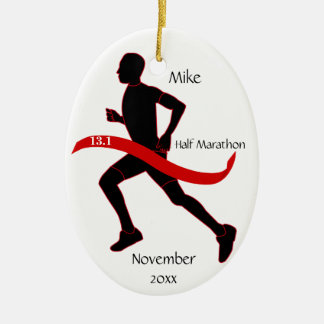 Half Marathon Runner Ornament - Man red