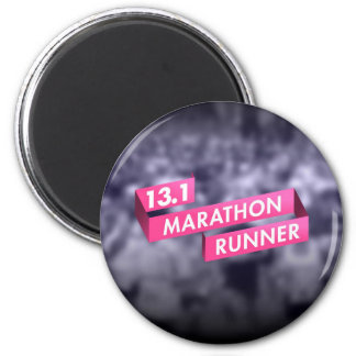 Half Marathon Runner Pink Ribbon Cancer Awareness Magnets