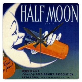 Half Moon Brand Oranges Crate Label Square Wall Clock
