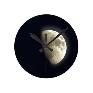 Half Moon Lunar Astronomy Photo Wall Clocks
