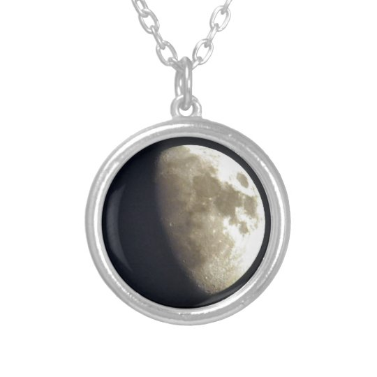 Half Moon Lunar Astronomy Photo Silver Plated Necklace