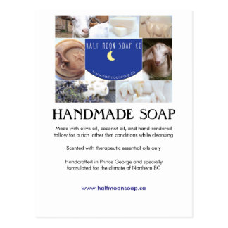 Half Moon soap info card collage