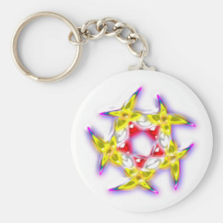 Half-moons pentagon crescents Pentagon Basic Round Button Key Ring