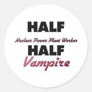 Half Nuclear Power Plant Worker Half Vampire Round Sticker