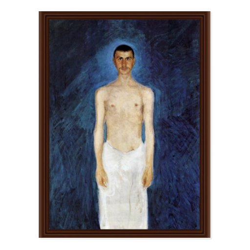 Half-Nude Self-Portrait Against A Blue Background Post Card