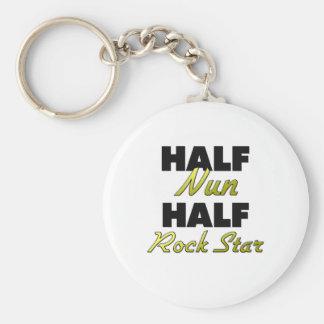 Half Nun Half Rock Star Basic Round Button Key Ring