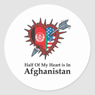 Half Of My Heart Is In Afghanistan Round Stickers