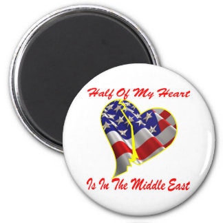 Half Of My Heart Is In The Middle East 6 Cm Round Magnet