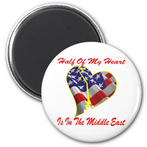 Half Of My Heart Is In The Middle East Fridge Magnets