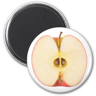 Half of red apple 6 cm round magnet