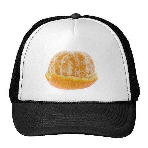 Half peeled mandarin orange trucker hats