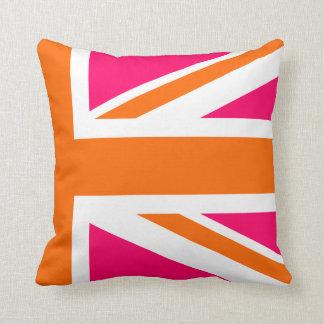 Half Pink and Orange Union Jack Throw Pillow
