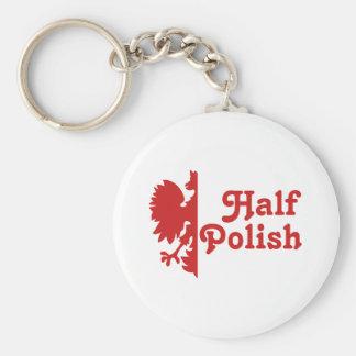 Half Polish Basic Round Button Key Ring