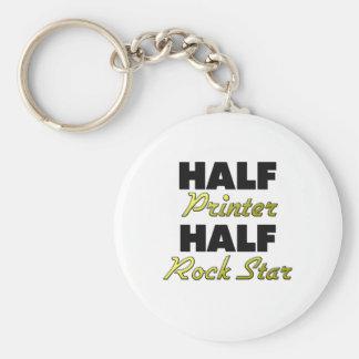 Half Printer Half Rock Star Basic Round Button Key Ring