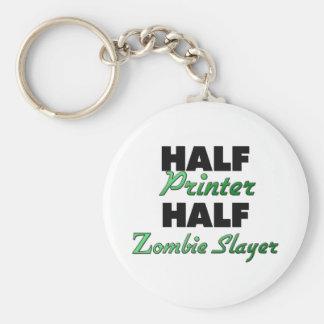 Half Printer Half Zombie Slayer Basic Round Button Key Ring