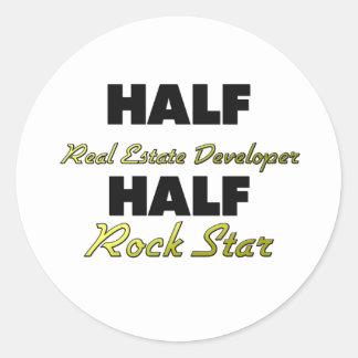 Half Real Estate Developer Half Rock Star Round Stickers