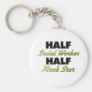 Half Social Worker Half Rock Star Basic Round Button Key Ring