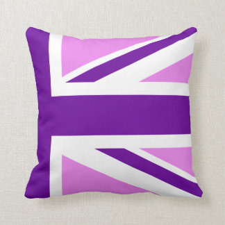 Half Violet Purple Union Jack Throw Pillow