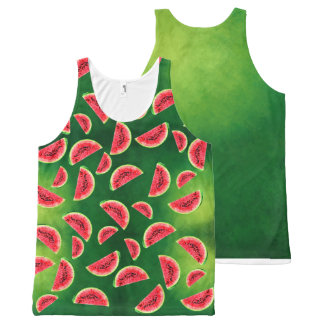 half watermelon with triangle pattern All-Over print tank top