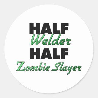 Half Welder Half Zombie Slayer Round Sticker