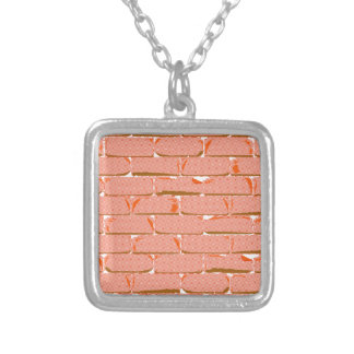 Halftone Brick Wall Silver Plated Necklace