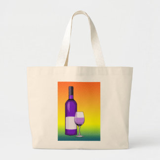 halftone comic wine glass and bottle bags