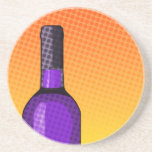 halftone comic wine glass and bottle drink coaster