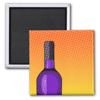 halftone comic wine glass and bottle square magnet