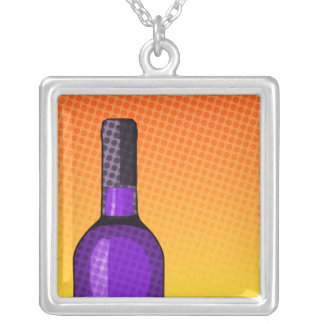 halftone comic wine glass and bottle square pendant necklace
