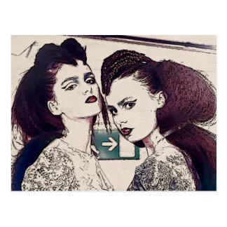 Halftone Girls Postcard