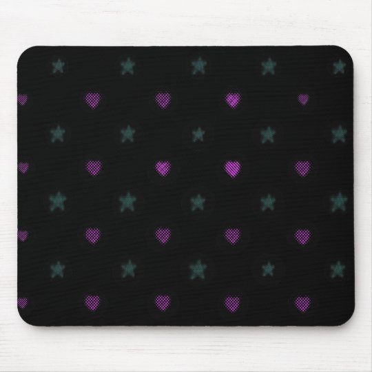 Halftone Hearts and Stars Mouse Mat