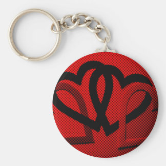 Halftone Hearts Cutout Basic Round Button Key Ring