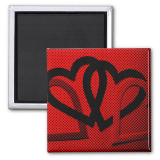 Halftone Hearts Cutout Square Magnet