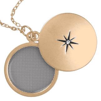 halftone large circles round locket necklace