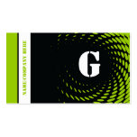 Halftone monogram black green business cards business cards