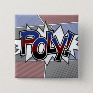 Halftone Poly Typography 15 Cm Square Badge