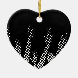 Halftone Raised Hands Ceramic Heart Decoration