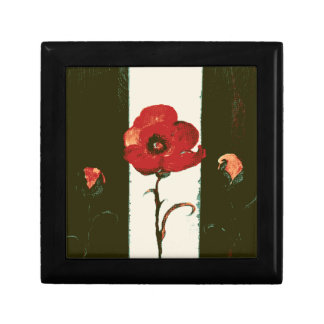 Halftone Red Painted Poppy & Buds Small Square Gift Box