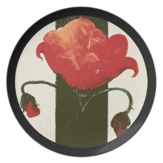 Halftone Red Painted Poppy Circle Plate