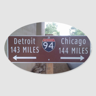 Halfway Point, Detroit Chicago. Oval Sticker