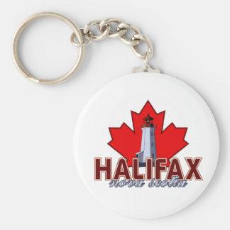 Halifax Lighthouse Basic Round Button Key Ring