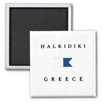 Halkidiki Greece Alpha Dive Flag Square Magnet