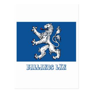 Hallands län flag with name postcard