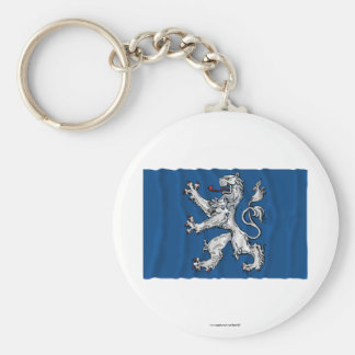 Hallands län waving flag basic round button key ring