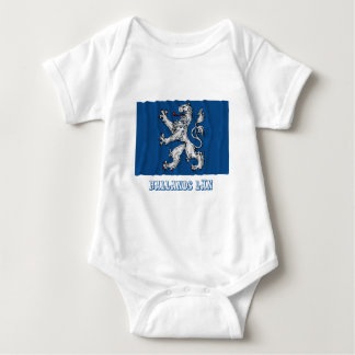 Hallands län waving flag with name baby bodysuit
