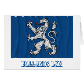 Hallands län waving flag with name greeting card