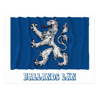 Hallands län waving flag with name postcard